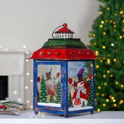 15 in. Red Green and Blue Snowman Christmas Candle Lantern