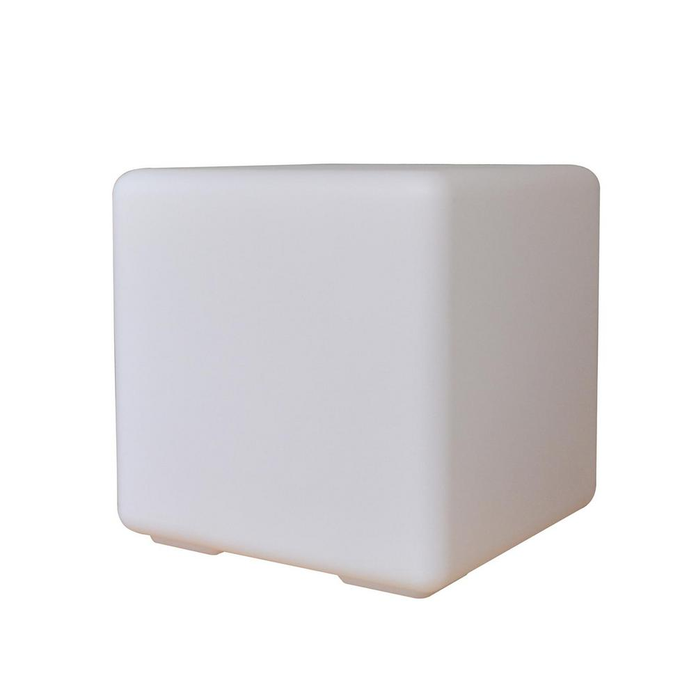 12 in. White Multicolor Outdoor Cube Lamp