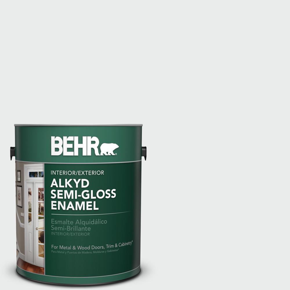 1 gal. #BWC-12 Vibrant White Semi-Gloss Enamel Alkyd Interior/Exterior Paint