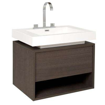 Potenza 28 in. Bath Vanity in Gray Oak with Acrylic Vanity Top in White with White Basin