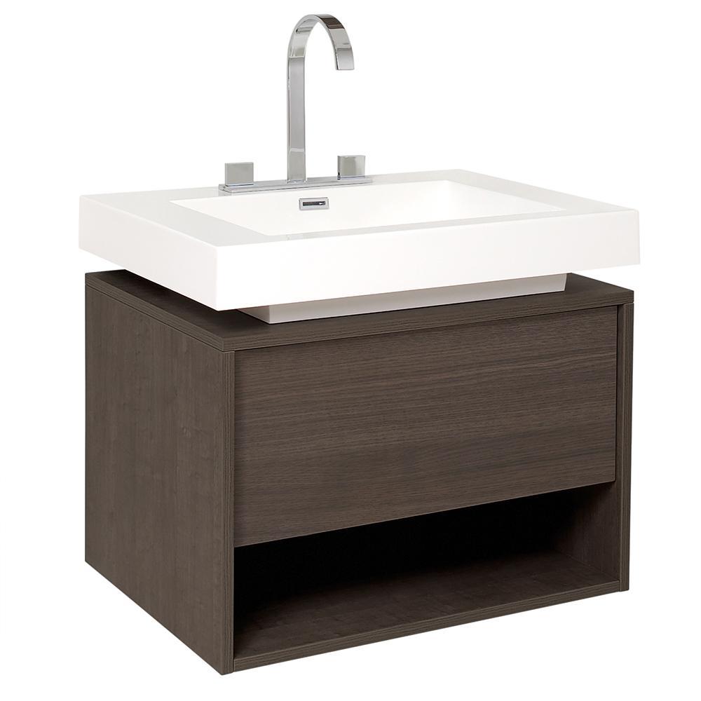 Fresca Potenza 28 In Bath Vanity In Gray Oak With Acrylic Vanity Top In White With White Basin