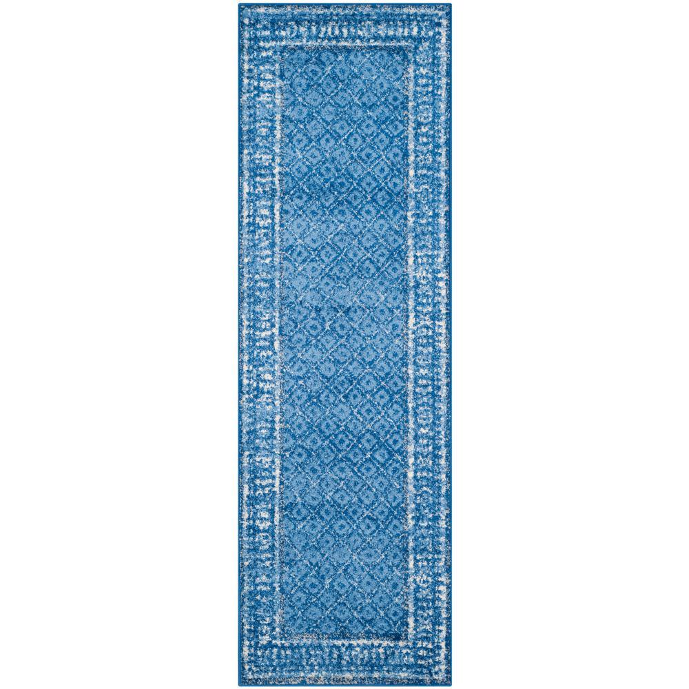 Adirondack Light Blue/Dark Blue 3 ft. x 22 ft. Runner Rug