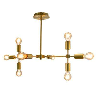 Bari 8-Light Chandelier Satin Gold Metal Shade Pendant Vintage-Style.