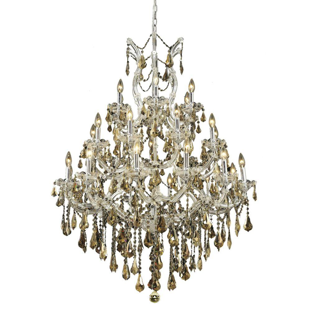Elegant Lighting 28-Light Chrome Chandelier with Golden Teak Smoky Crystal