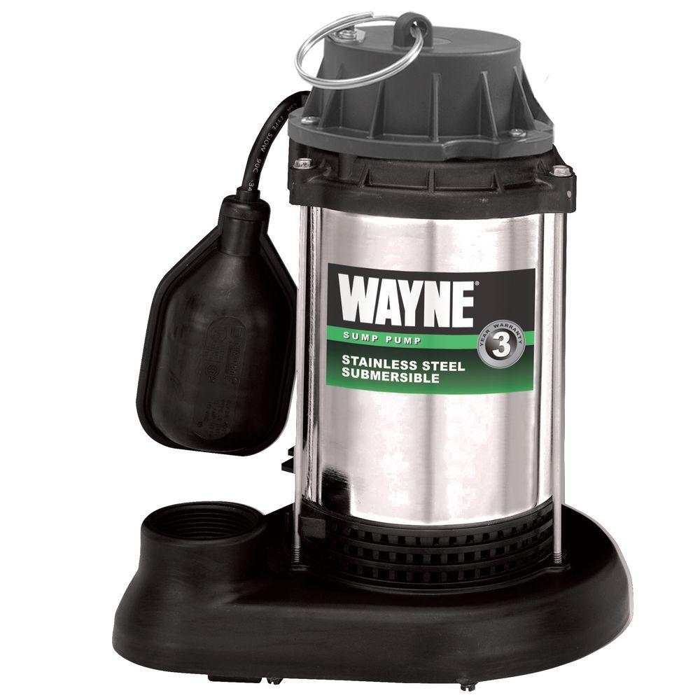 Wayne 1/2 HP Stainless Steel Sump Pump with Tethered Float Switch-DISCONTINUED