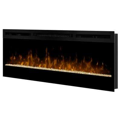 50 in. Linear Wall-Mount Electric Fireplace in Black