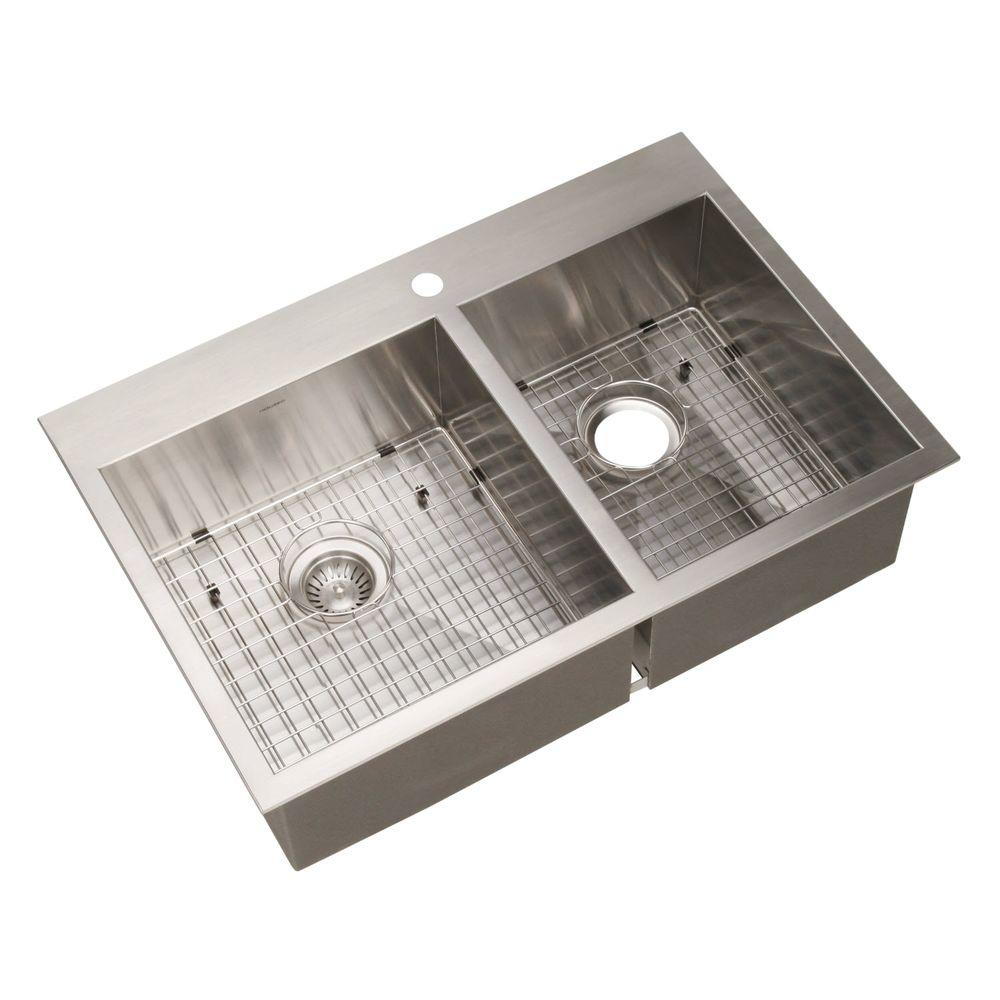 Houzer Bellus Series Drop In Stainless Steel 33 In 1 Hole Double Bowl Kitchen Sink Bcd 3322