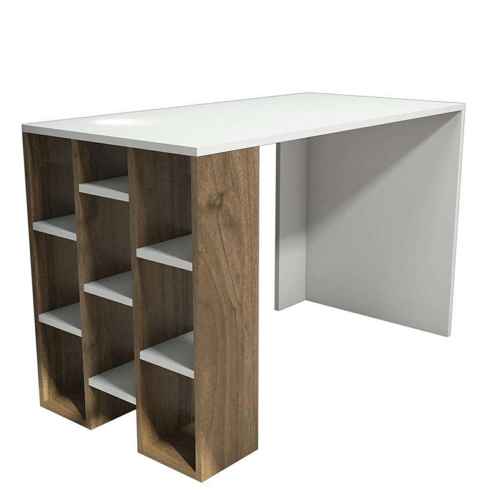 Dayson White and Walnut Modern Desk