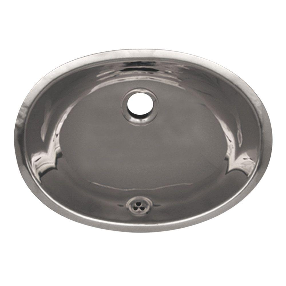 Whitehaus Collection Oval Undermounted Bathroom Sink in Polished Stainless Steel