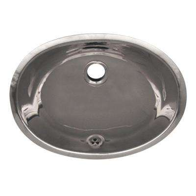Oval Undermounted Bathroom Sink In Polished Stainless Steel