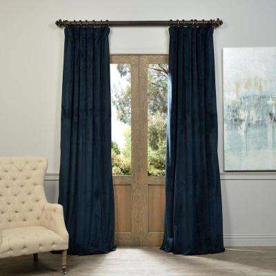 Blackout Signature Midnight Blue Blackout Velvet Curtain - 50 in. W x 108 in. L (1 Panel)