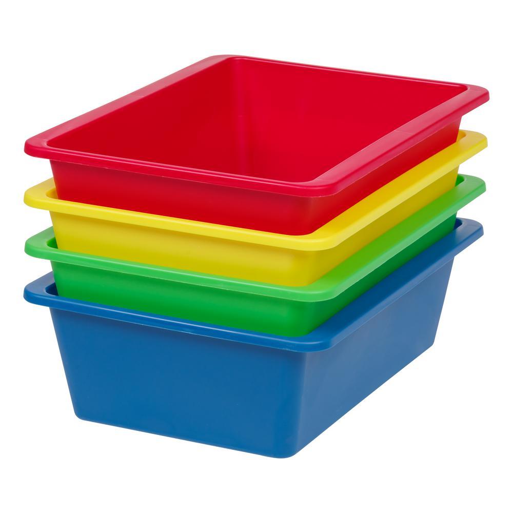 Large Multi-Purpose Plastic Bins in Primary (4-Pack)