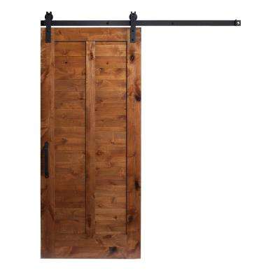 42 in. x 84 in. Unassembled Stain and Clear Plantation Wood Barn Door with Sliding Door Hardware Kit
