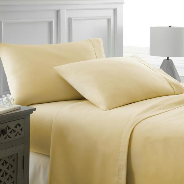 4-Piece Gold Solid Microfiber California King Sheet Set