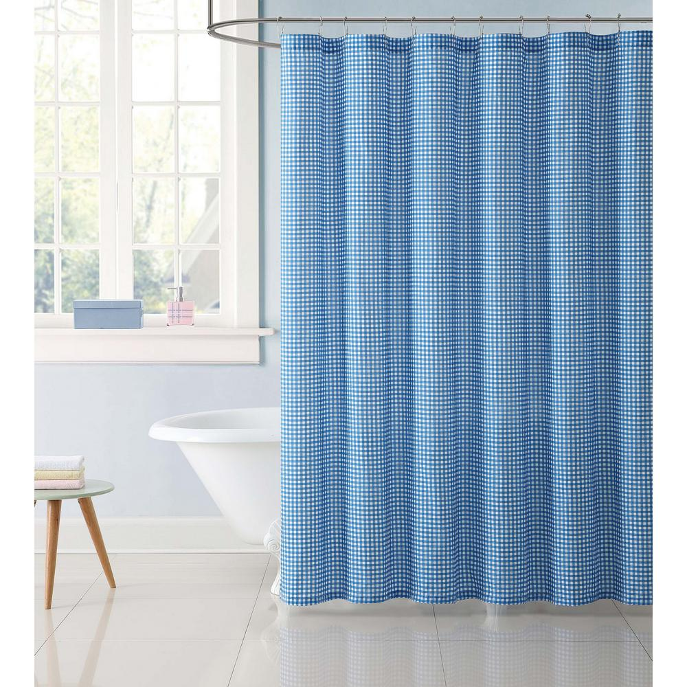 Kids Gingham 72 in. Blue Shower Curtain