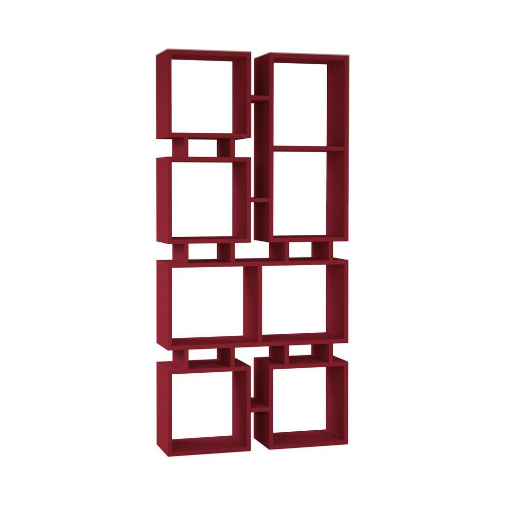 Bancroft Burgundy Mid-Century Modern Bookcase