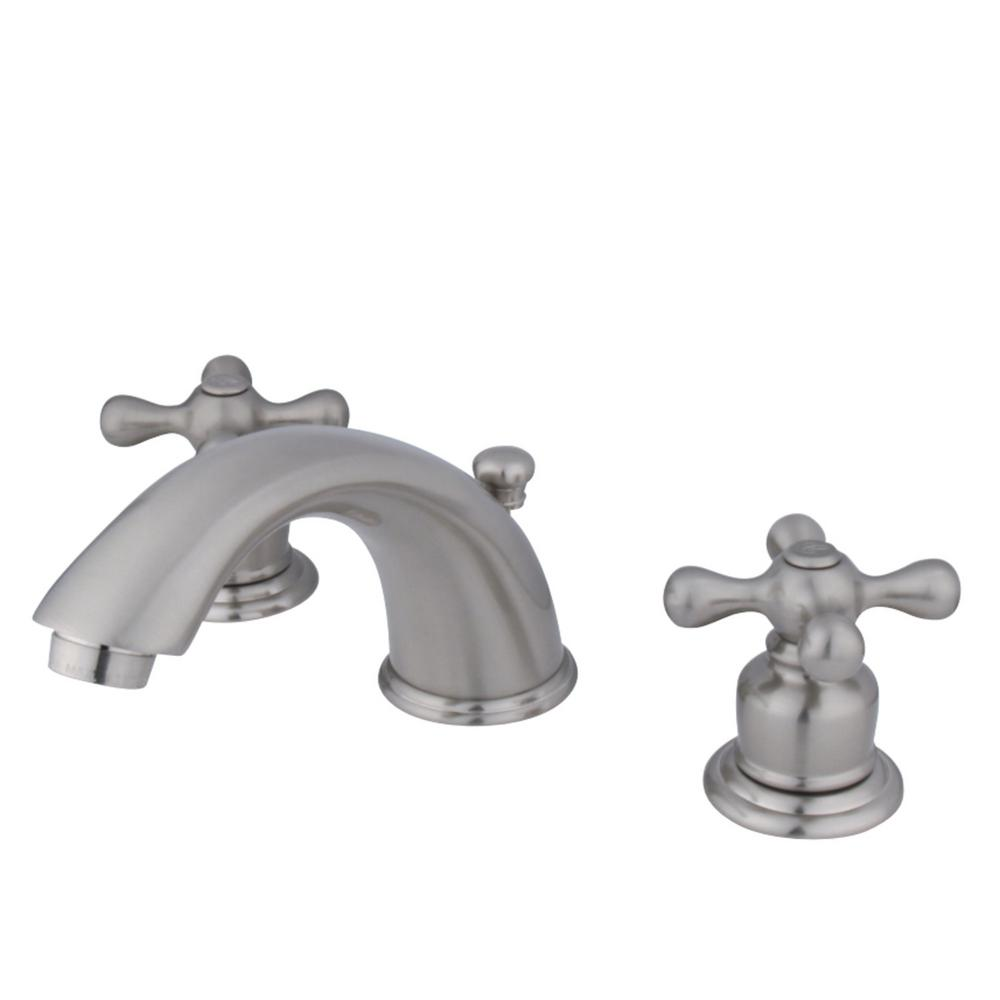 Kingston Brass Victorian 8 in. Widespread 2-Handle Bathroom Faucet in Brushed Nickel