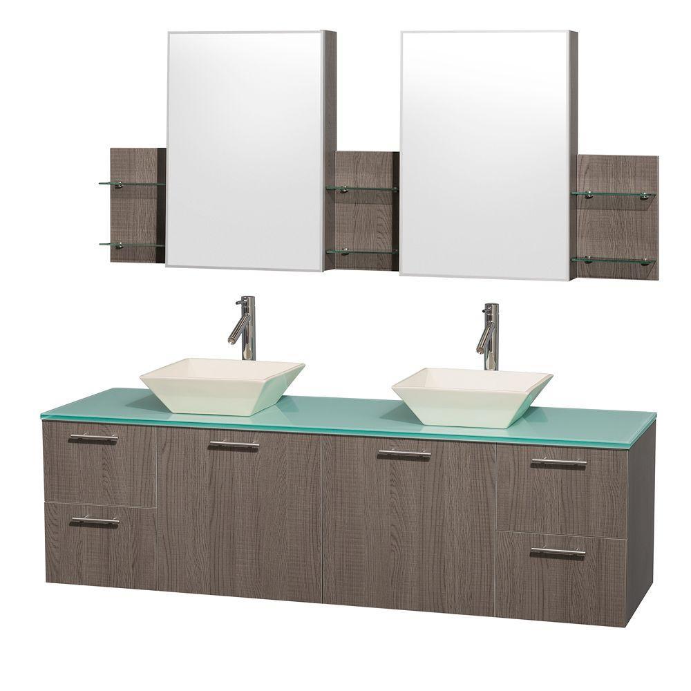 Double Vanity In Grey Oak With Glass Vanity Top In Aqua And