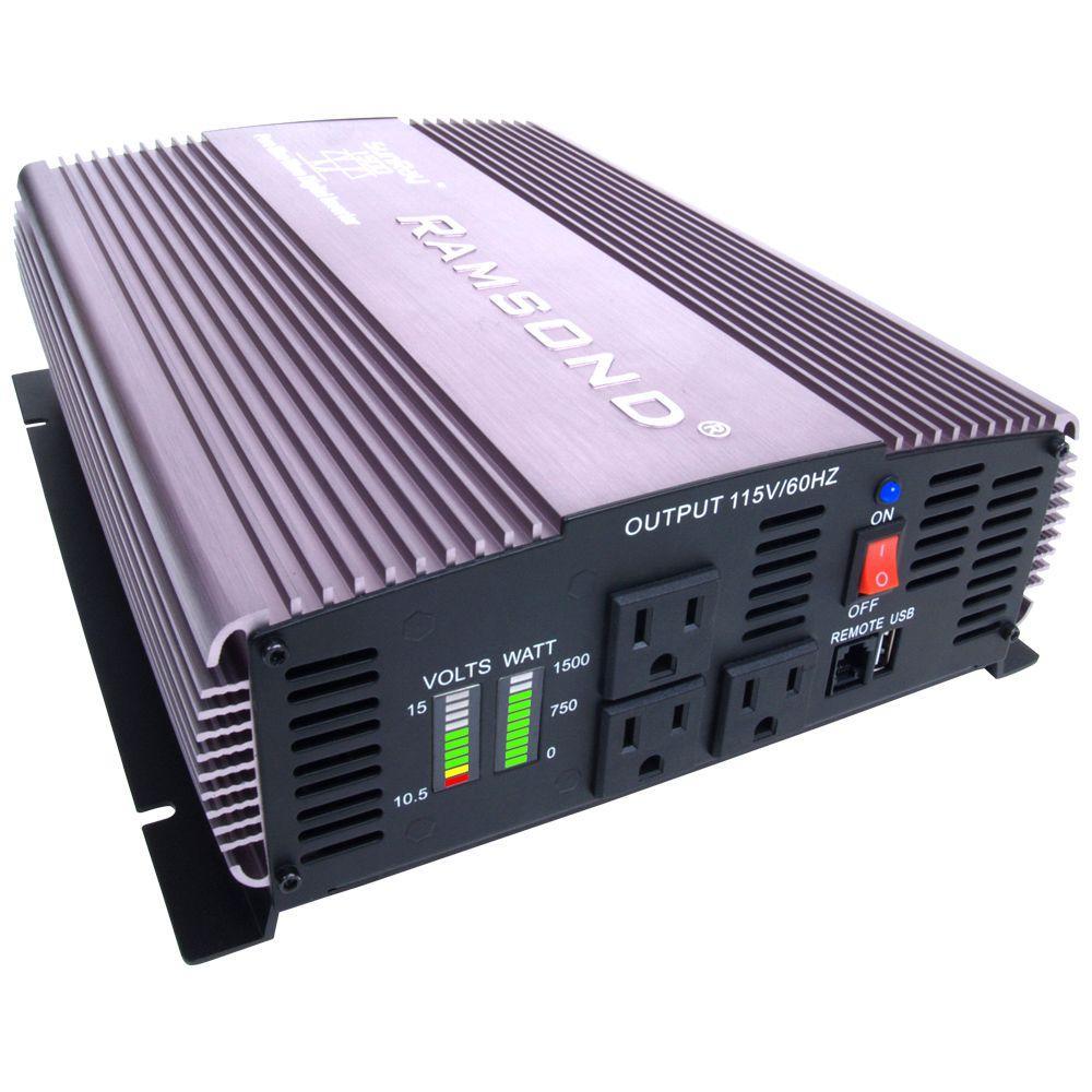 Ramsond Sunray 1500 Pure Sine Wave Intelligent DC to AC Inverter (12-Volt) by Ramsond
