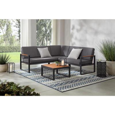Pinnacle Black 4-Piece Wood Outdoor Sectional Set with Dark Grey Cushions