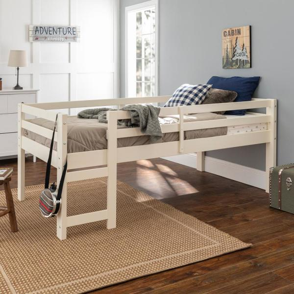 Walker Edison Furniture Company Traditional Solid Wood Open Storage Low Twin Loft Bed White Hdwjrtolwh The Home Depot