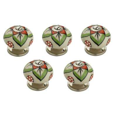 Admiral 1-3/5 in. (41 mm) White and Multicolor Cabinet Knob (Pack of 5)