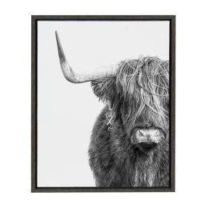 "Sylvie ""B&W Highland Cow No. 1"" by Amy Peterson Framed Canvas Wall Art"