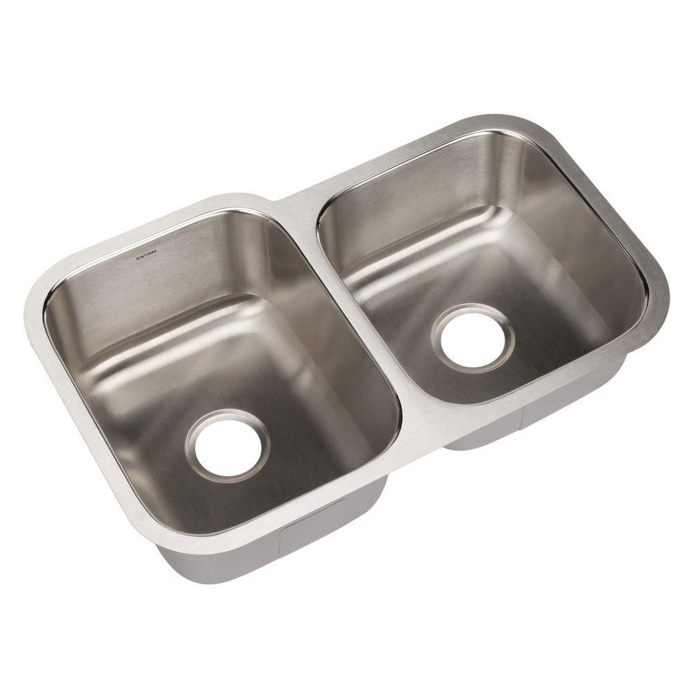 Eston Series Undermount Stainless Steel 31 in. Double Basin Kitchen Sink