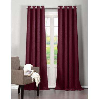 Blackout Quincy 84 in. L Blackout Grommet Panel in Raspberry (2-Pack)