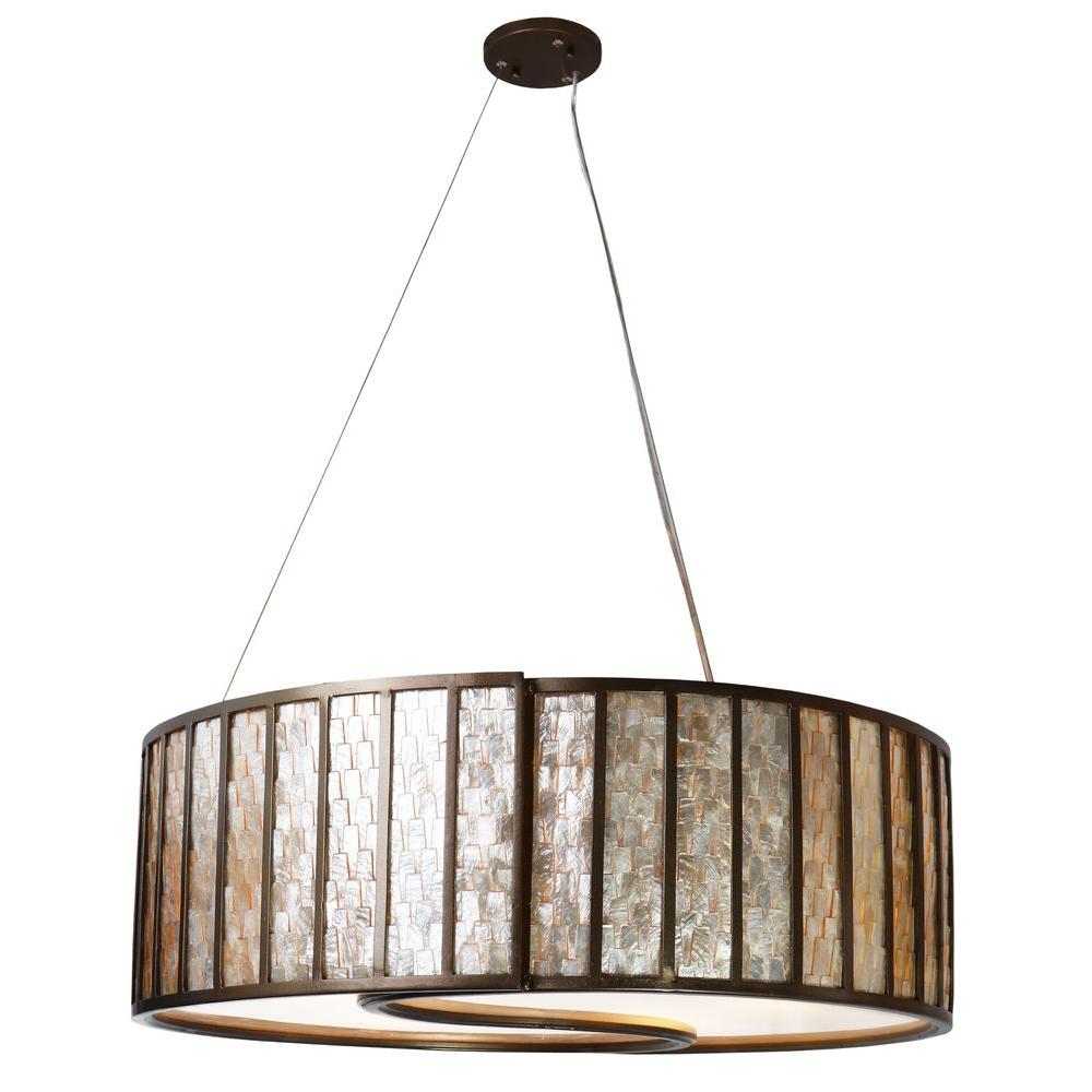 Varaluz Affinity 5 Light New Bronze Drum Pendant With Towers Of Natural Capiz