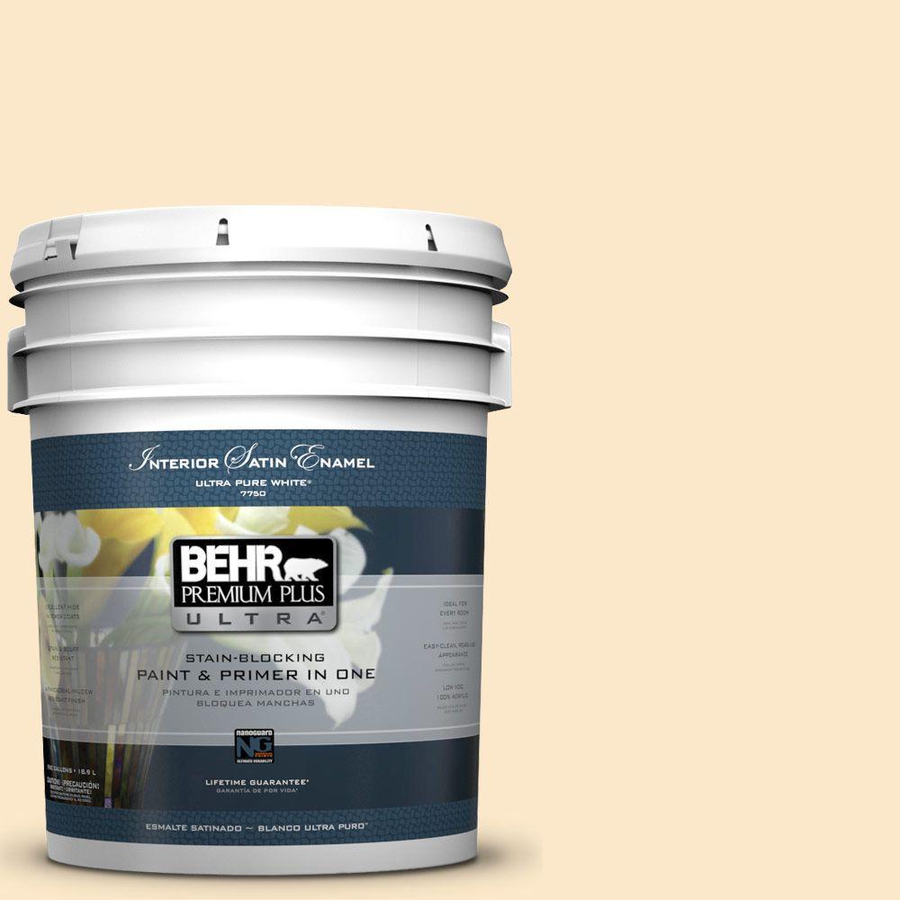 BEHR Premium Plus Ultra 5-gal. #YL-W2 Spanish Lace Satin Enamel Interior Paint