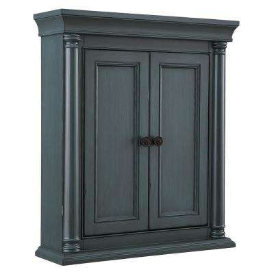 Strousse 26 in. W x 30 in. H Wall Cabinet in Distressed Blue Fog