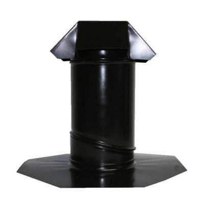 6 in. Adjustable Pitch Galvanized Steel Pipe Flashing in Black
