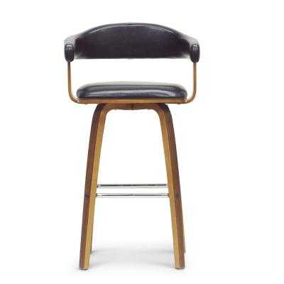Quigley Brown Wood and Black Faux Leather Adjustable Bar Stool