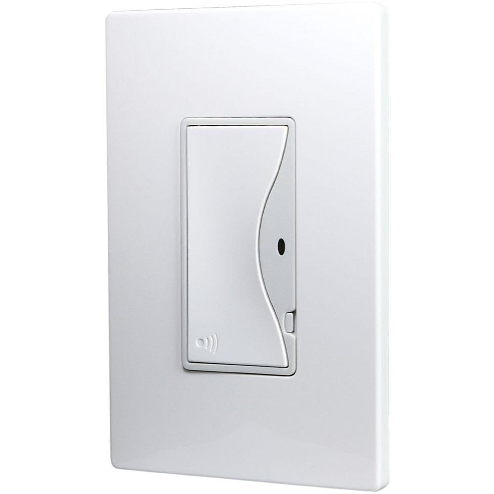 Aspire 8 Amp RF Single-Pole Rocker Wireless Light Switch, Alpine White