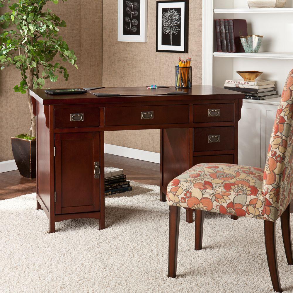 Southern Enterprises Dark Cherry Finish And Aged Bronze Finish Hardware  Storage Desk