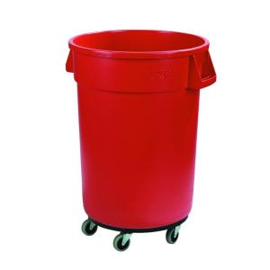 red round trash can with dolly 3pack - Brute Trash Can