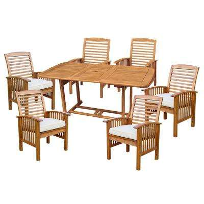 7-Piece Light Brown Acacia Wood Outdoor Dining Set with Cushions