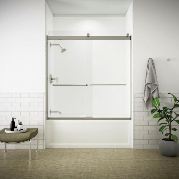 Levity 59 in. x 62 in. Semi-Frameless Sliding Tub Door in Matte Nickel finish with Handle