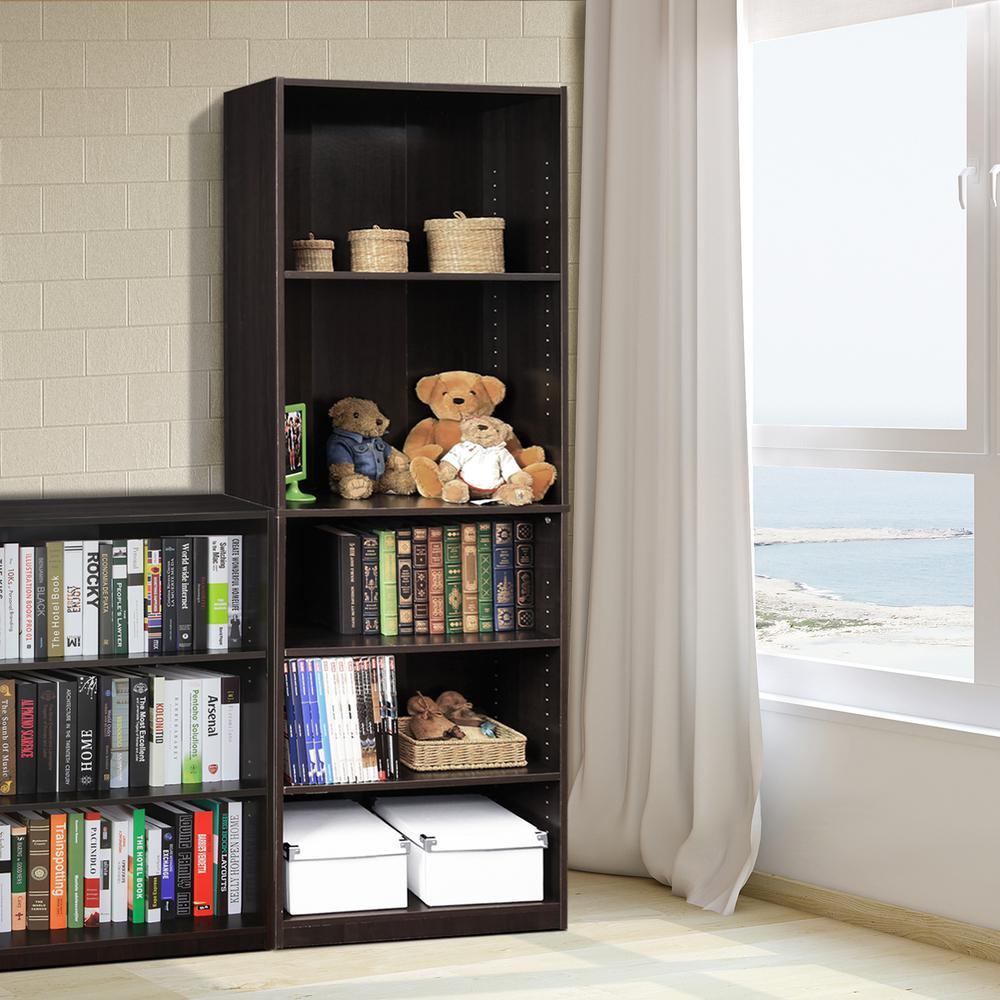 JAYA 5-Shelf Espresso Open Bookcase