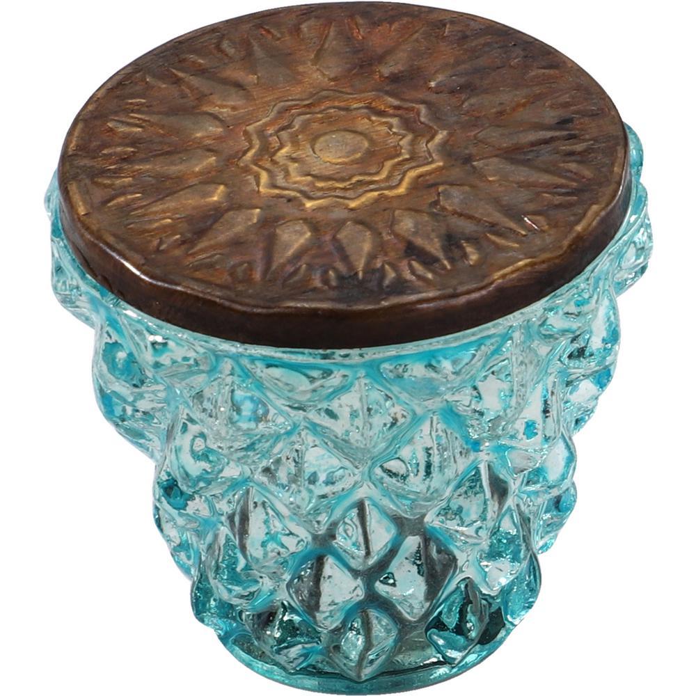 Diamond Cut 1-1/2 in. Green Bronze Head Cabinet Knob