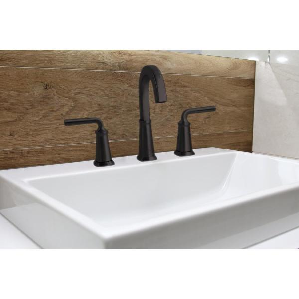 Windon Bay Chesapeake 8 In Widespread 2 Handle High Arc Bathroom Faucet With Pop Up Drain Assembly In Matte Black W1132mb The Home Depot
