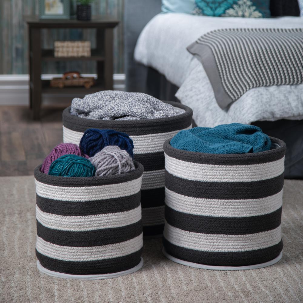 Anton Transitional Nesting Storage Basket Set in Dark Charcoal White Cotton (3-Piece)