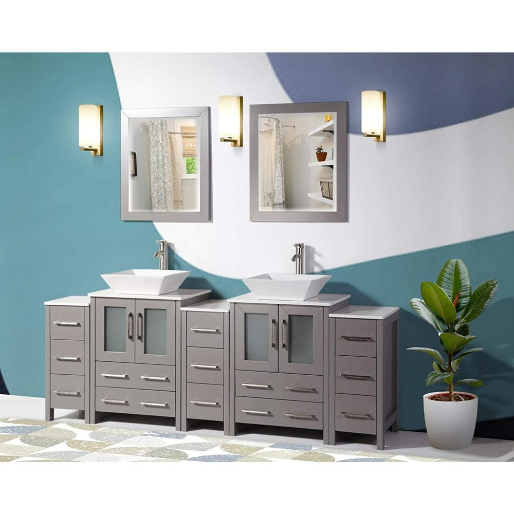 Vanity Art Ravenna 84 In W X 18 5 In D X 36 In H Bathroom Vanity In Grey With Double Basin Top In White Ceramic And Mirrors Va3124 84g The Home Depot