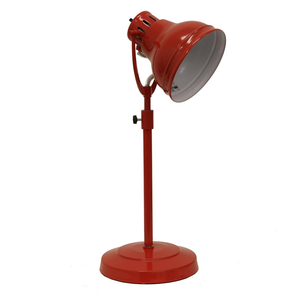 Decor Therapy Desk Task 21 In Red Table Lamp With Metal Shade