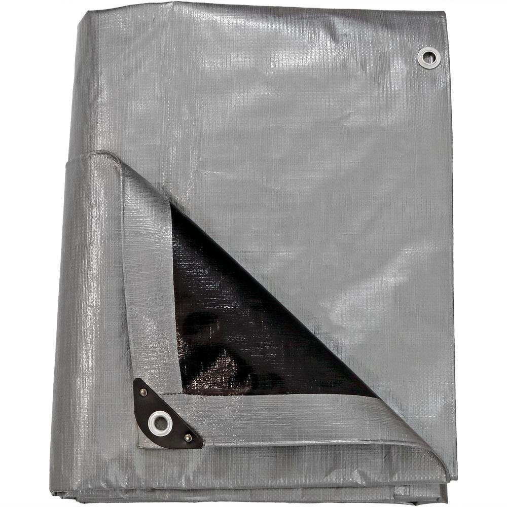 Sunnydaze Decor 9 ft. x 12 ft. Gray-Black Polyethylene Tarp
