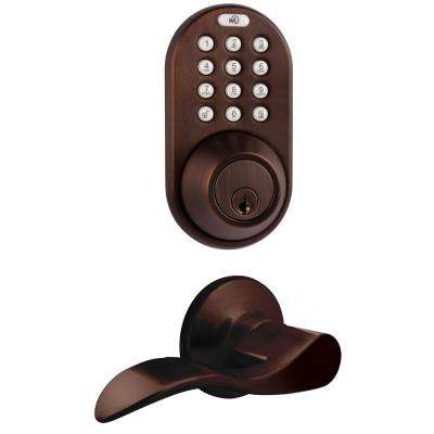 Oil Rubbed Bronze Keyless Deadbolt and Lever Handleset Door Lock Combo with Remote Control and Electronic Digital Keypad