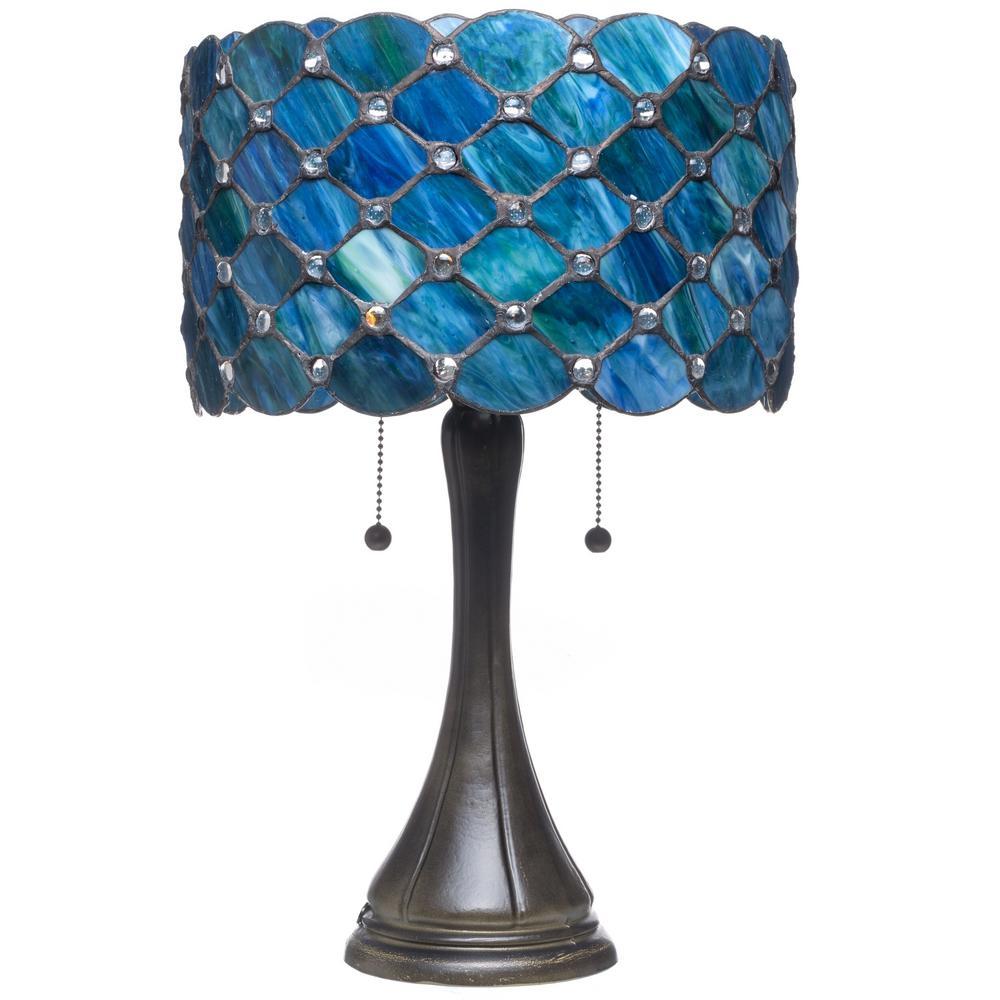 Serena D'Italia Contemporary Tiffany 22 in. 2-Light Bronze Table Lamp