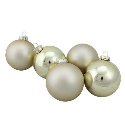 325 in 80 mm 6 piece shiny and matte gold glass ball - Silver Christmas Decorations
