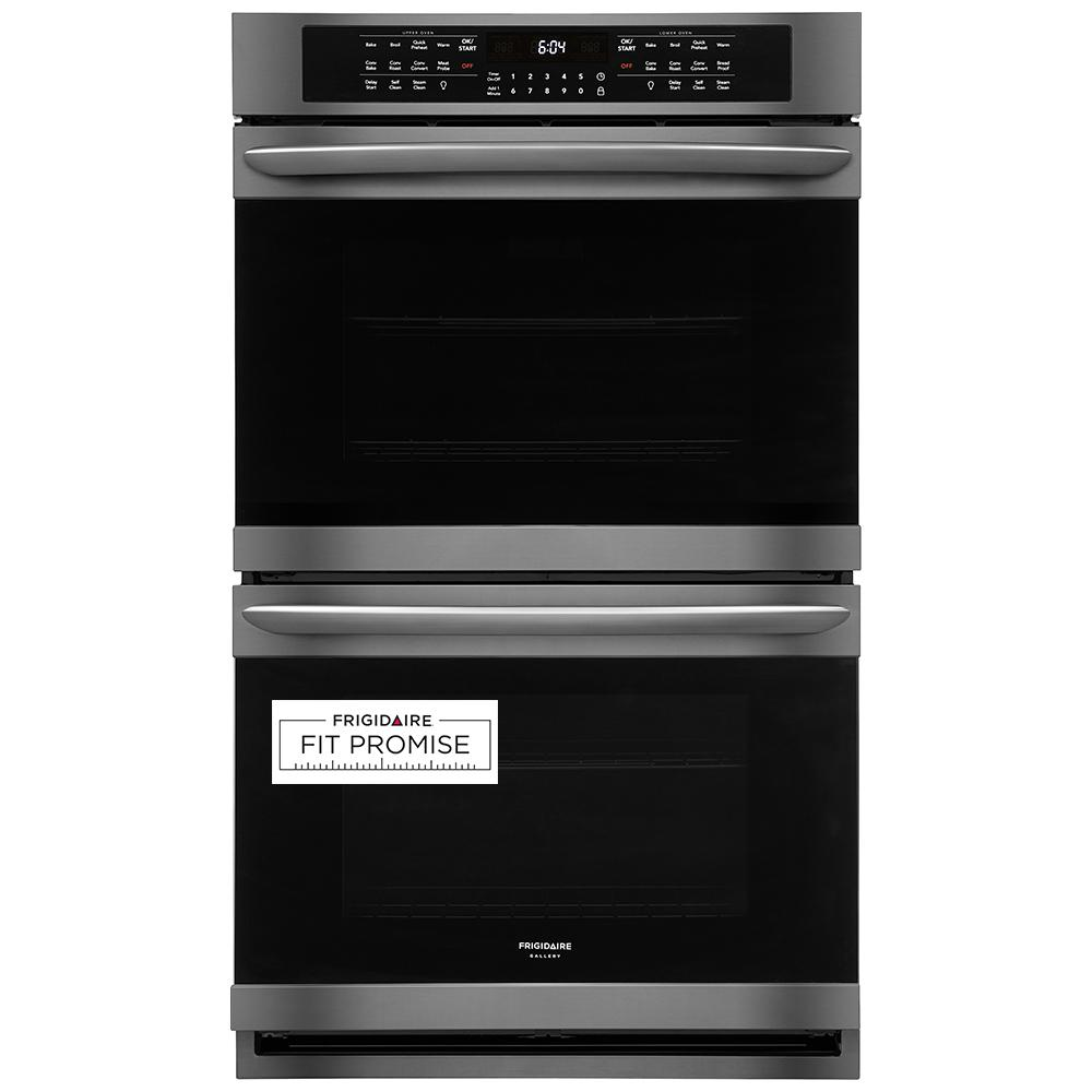 FRIGIDAIRE GALLERY 30 in. Double Electric Wall Oven with True Convection Self-Cleaning in Black Stainless Steel